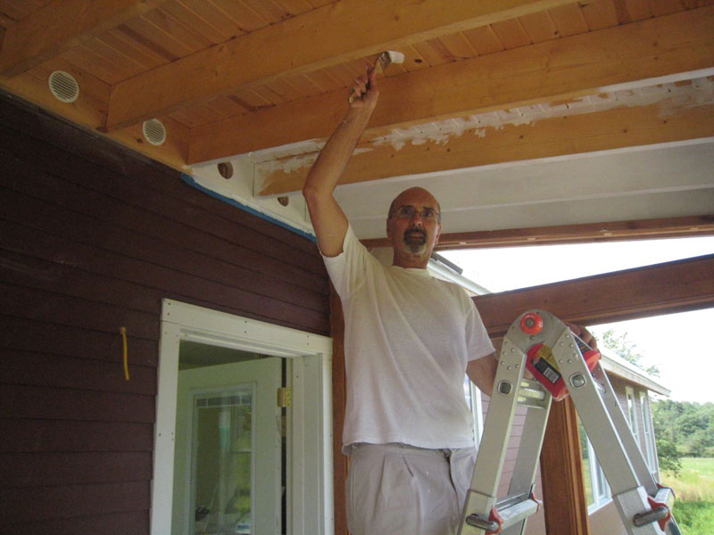 Dad Priming The Screen Porch Ceiling
